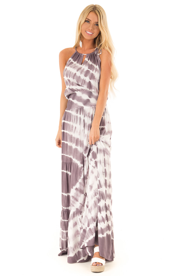 2494b2e20894 Lavender and Cream Sleeveless Tie Dye Maxi Dress - Lime Lush Boutique