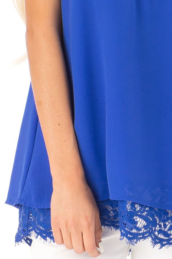 Royal Blue Tank Top with Lace Detail on Neckline and Hem detail