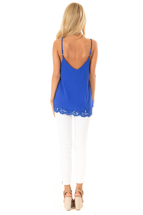 Royal Blue Tank Top with Lace Detail on Neckline and Hem back full body
