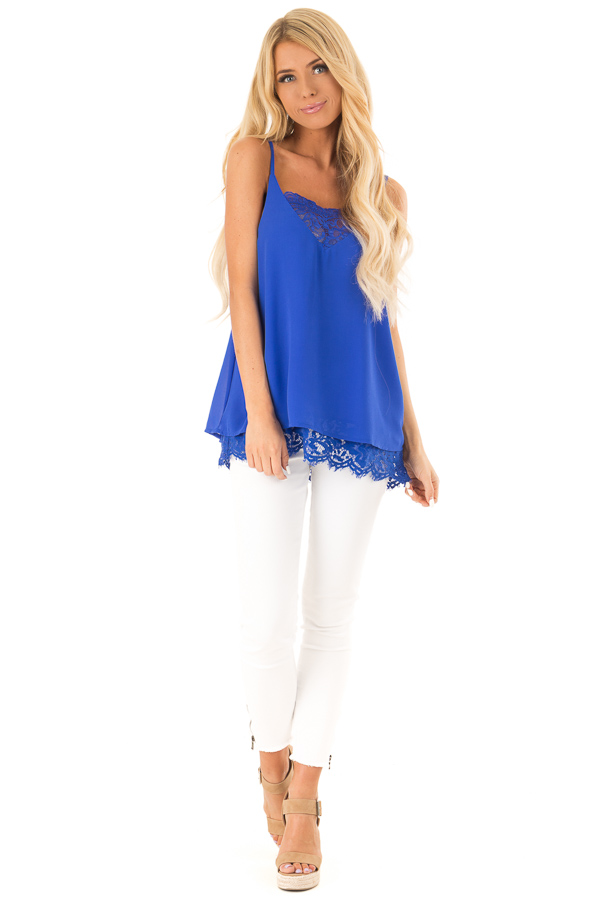 Royal Blue Tank Top with Lace Detail on Neckline and Hem front full body