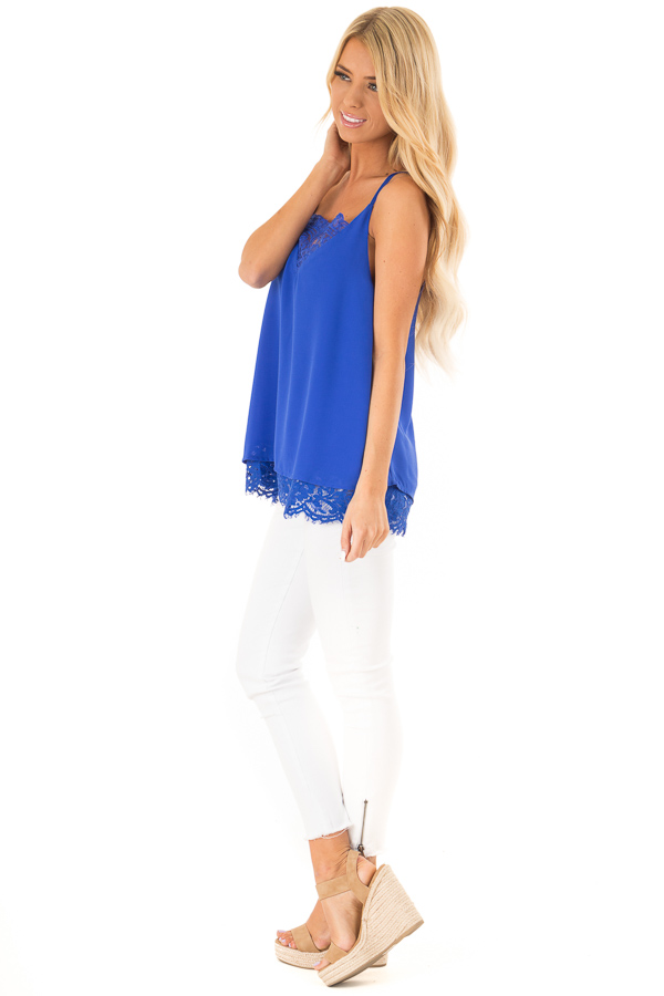 Royal Blue Tank Top with Lace Detail on Neckline and Hem side full body