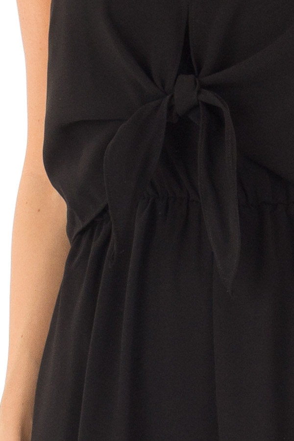 Midnight Black Wide Leg Jumpsuit with Overlay and Front Tie detail