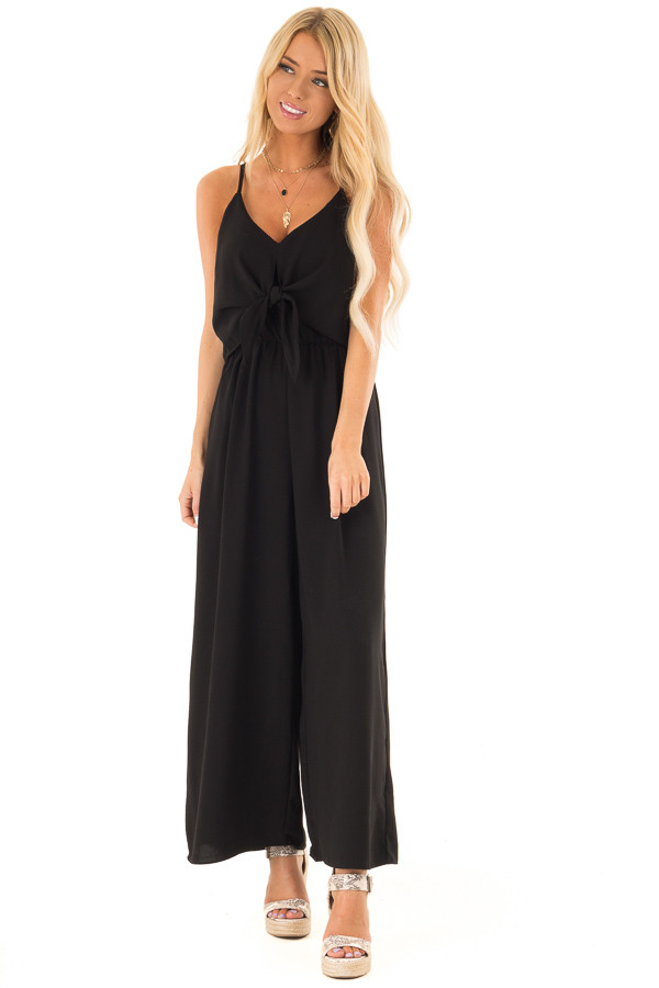 Midnight Black Wide Leg Jumpsuit with Overlay and Front Tie front full body
