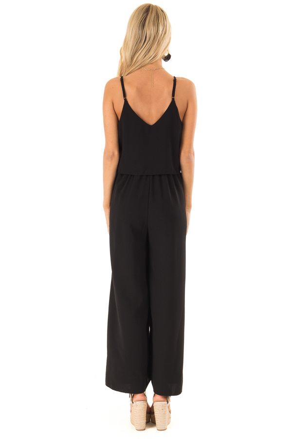 Midnight Black Wide Leg Jumpsuit with Overlay and Front Tie back full body