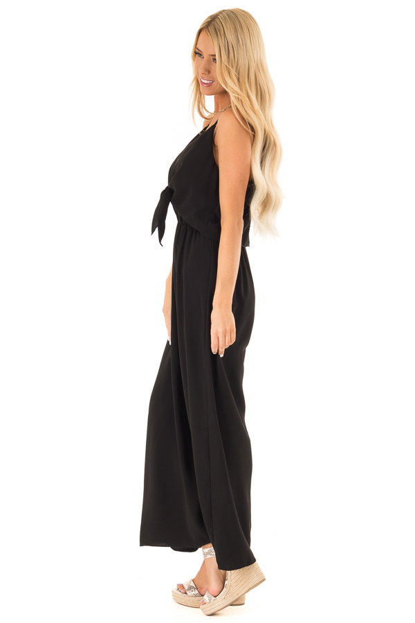 Midnight Black Wide Leg Jumpsuit with Overlay and Front Tie side full body