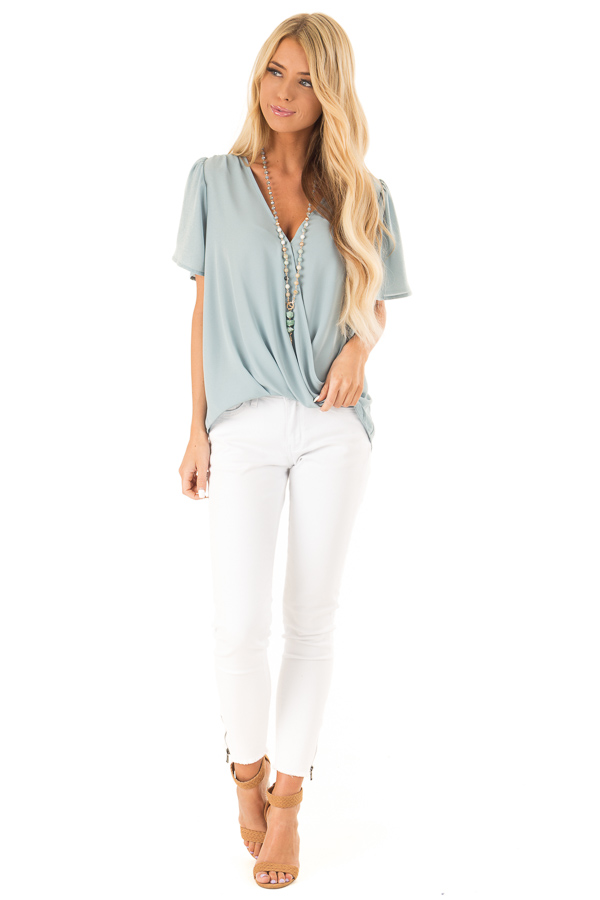 Dusty Sage V Neck Crossover Top with Bubble Hem front full body
