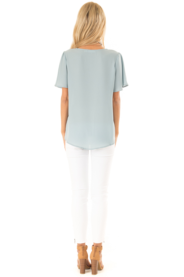 Dusty Sage V Neck Crossover Top with Bubble Hem back full body