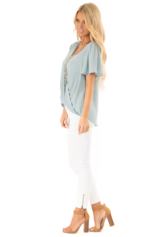 Dusty Sage V Neck Crossover Top with Bubble Hem side full body