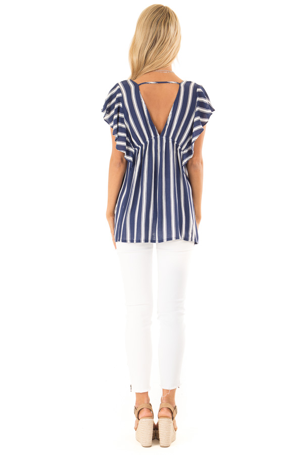 Denim Blue and White Striped V Neck Top with Ruffle Sleeves back full body