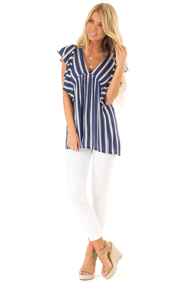 Denim Blue and White Striped V Neck Top with Ruffle Sleeves front full body