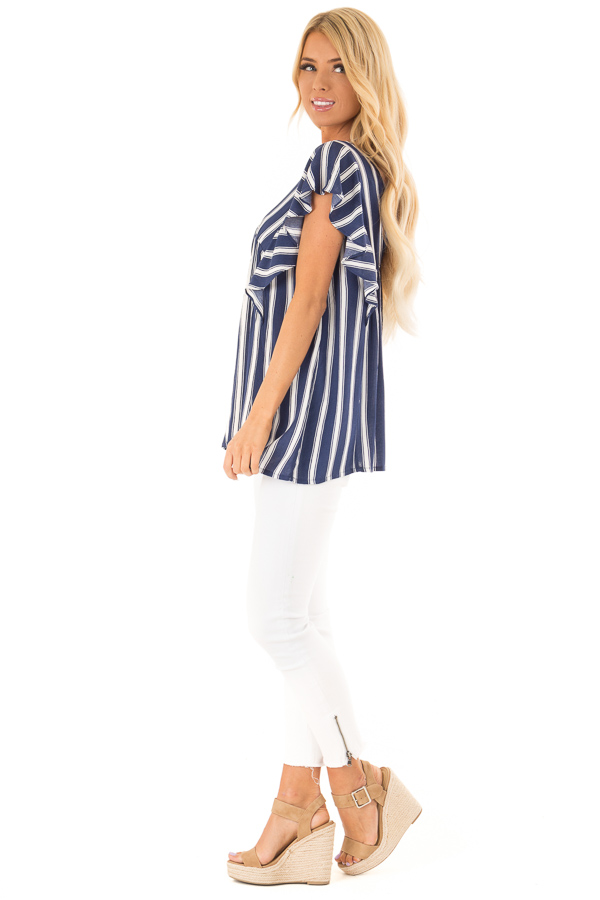 Denim Blue and White Striped V Neck Top with Ruffle Sleeves side full body