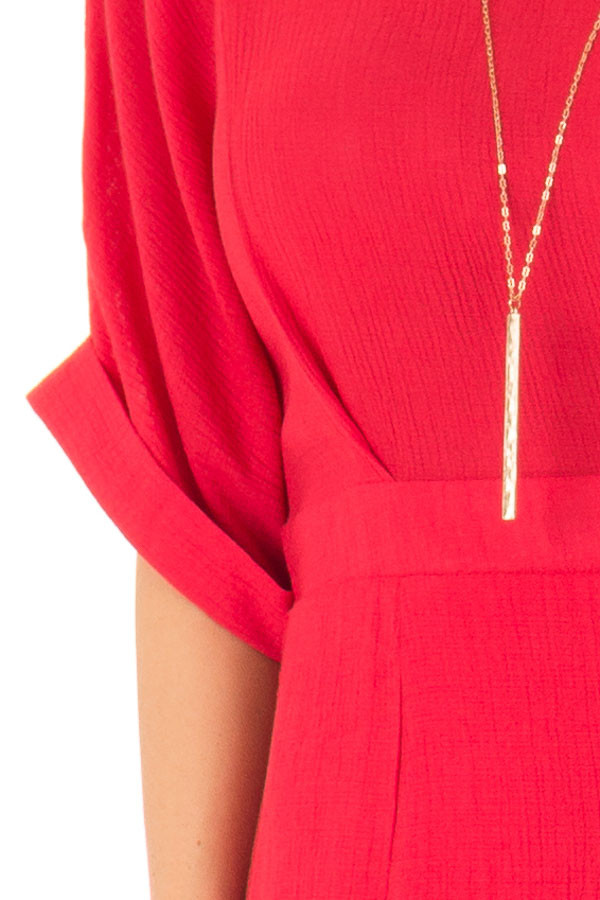 Ruby Red Form Fitting Sheath Dress with Short Cuff Sleeves detail
