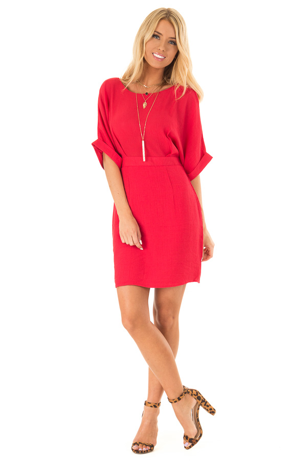 Ruby Red Form Fitting Sheath Dress with Short Cuff Sleeves front full body