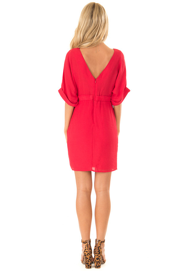 Ruby Red Form Fitting Sheath Dress with Short Cuff Sleeves back full body