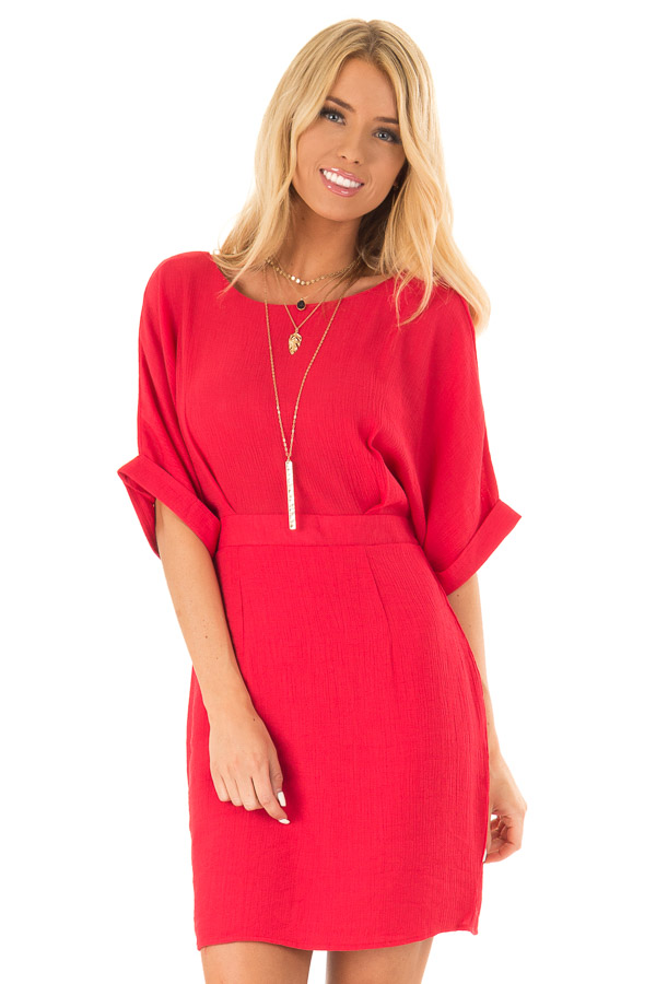 Ruby Red Form Fitting Sheath Dress with Short Cuff Sleeves front close up