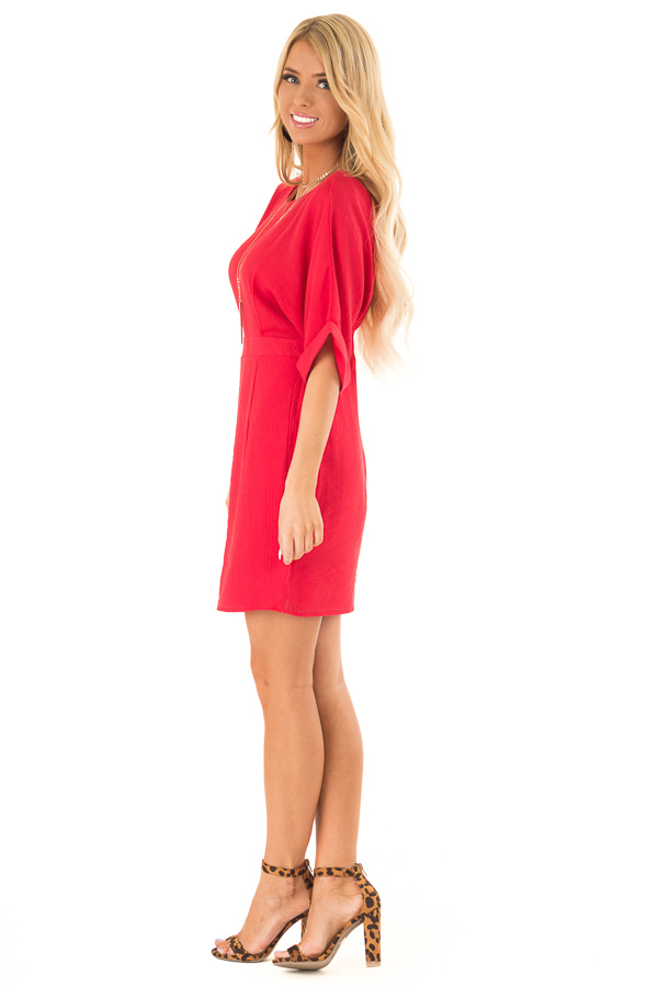 Ruby Red Form Fitting Sheath Dress with Short Cuff Sleeves side full body