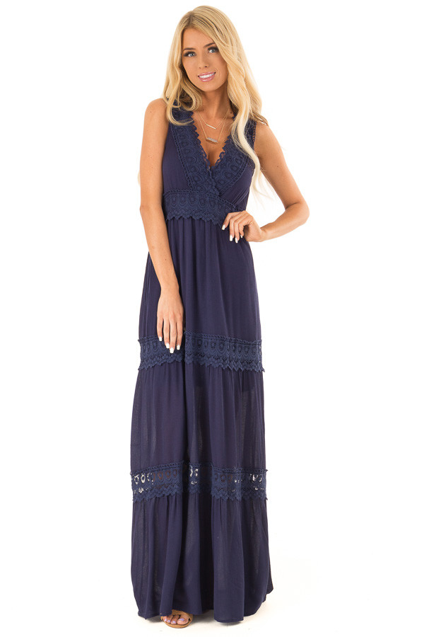 Midnight Navy Sleeveless Maxi Dress with Crochet Lace Detail front close up