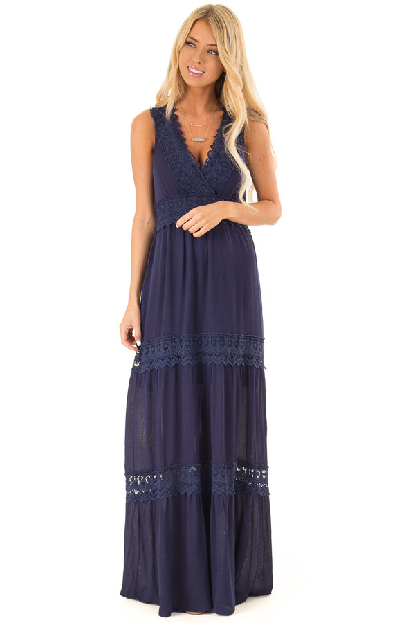 Midnight Navy Sleeveless Maxi Dress with Crochet Lace Detail front full body