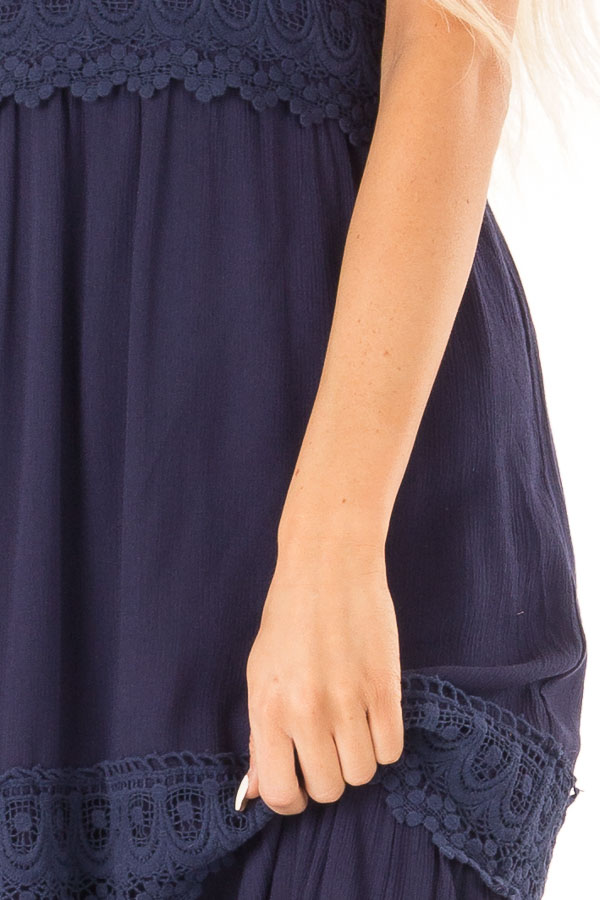 Midnight Navy Sleeveless Maxi Dress with Crochet Lace Detail detail