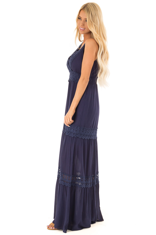 Midnight Navy Sleeveless Maxi Dress with Crochet Lace Detail side full body