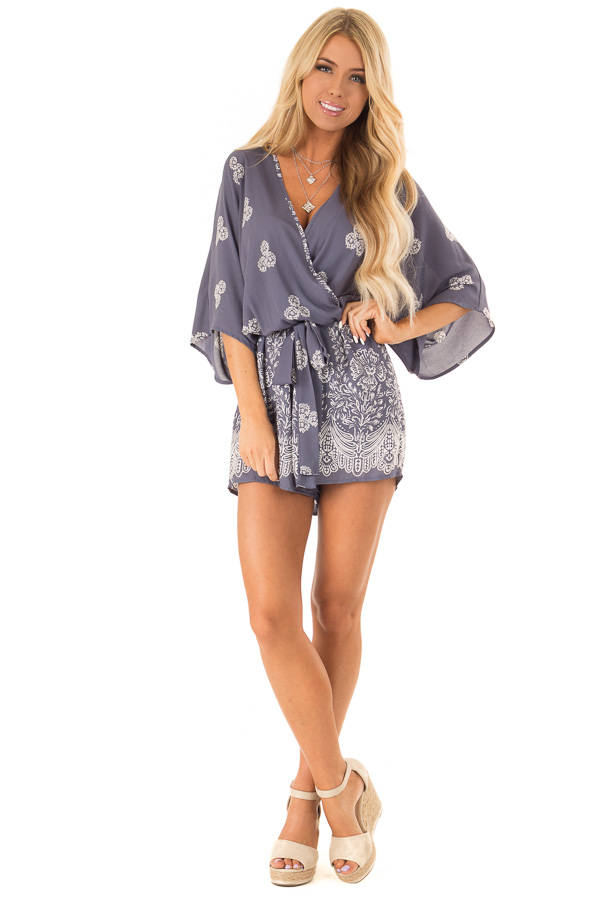 Steel Blue Surplice Romper with Floral Print and Front Tie front full body