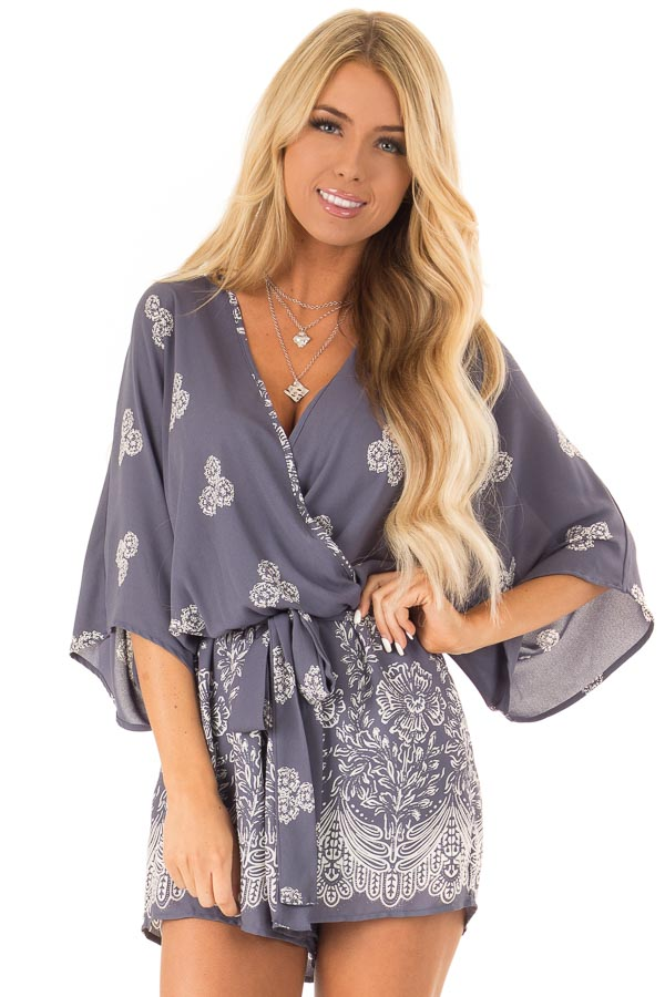 Steel Blue Surplice Romper with Floral Print and Front Tie front close up