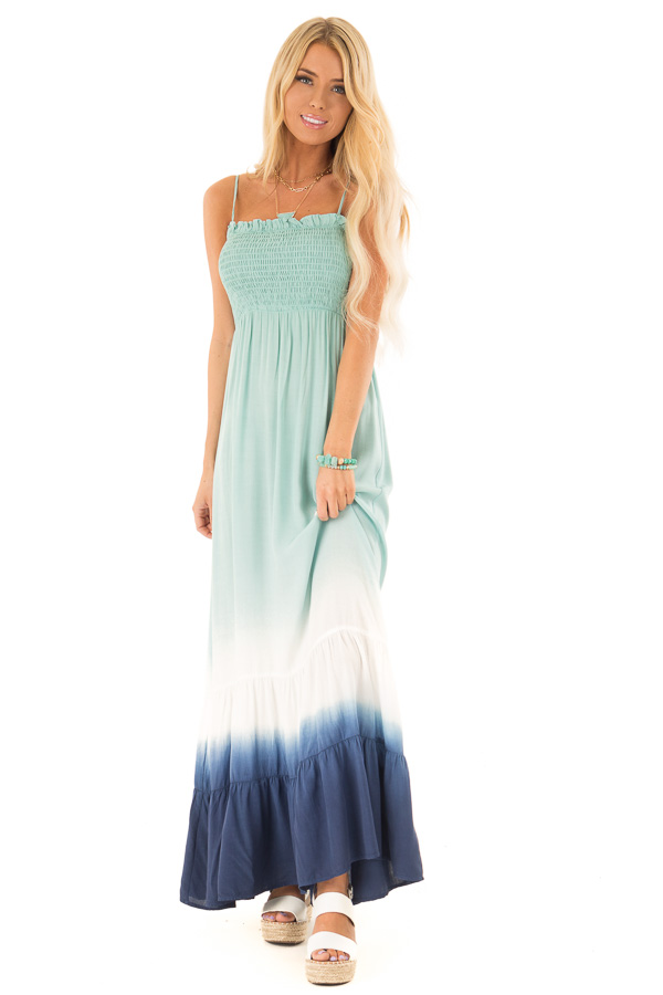 Mint and Navy Ombre Smocking Sleeveless Maxi Dress front full body
