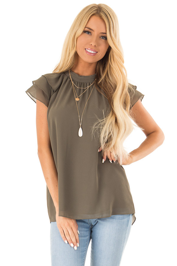 Olive Mock Neck Blouse with Short Layered Ruffle Sleeves front close up