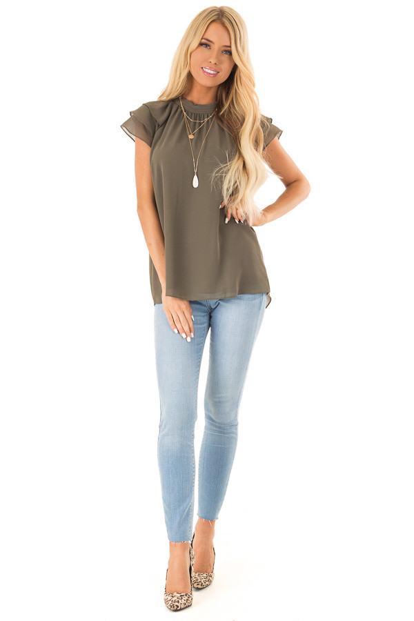 Olive Mock Neck Blouse with Short Layered Ruffle Sleeves front full body