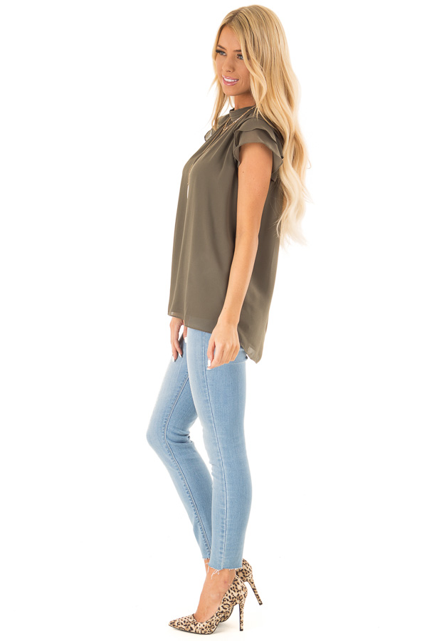 Olive Mock Neck Blouse with Short Layered Ruffle Sleeves side full body