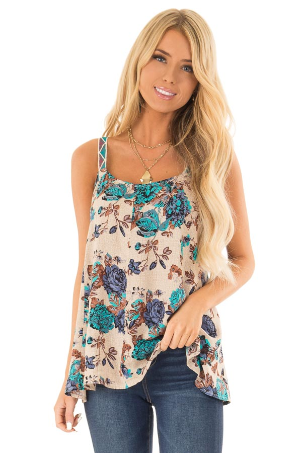 Beige Floral Swing Tank Top with Crocheted Straps front close up