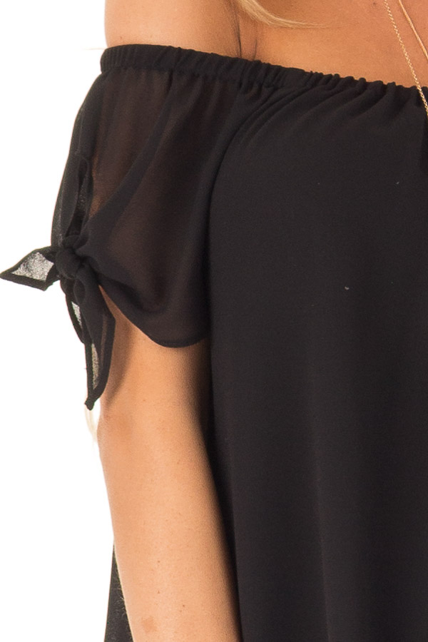 Ink Black Off the Shoulder Short Sleeve Top with Tie Detail detail