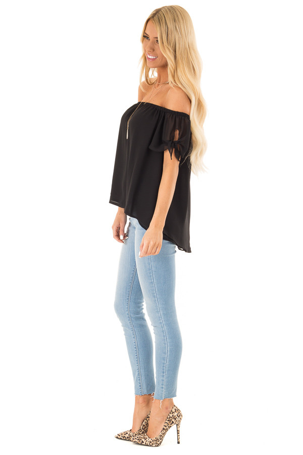 Ink Black Off the Shoulder Short Sleeve Top with Tie Detail side full body
