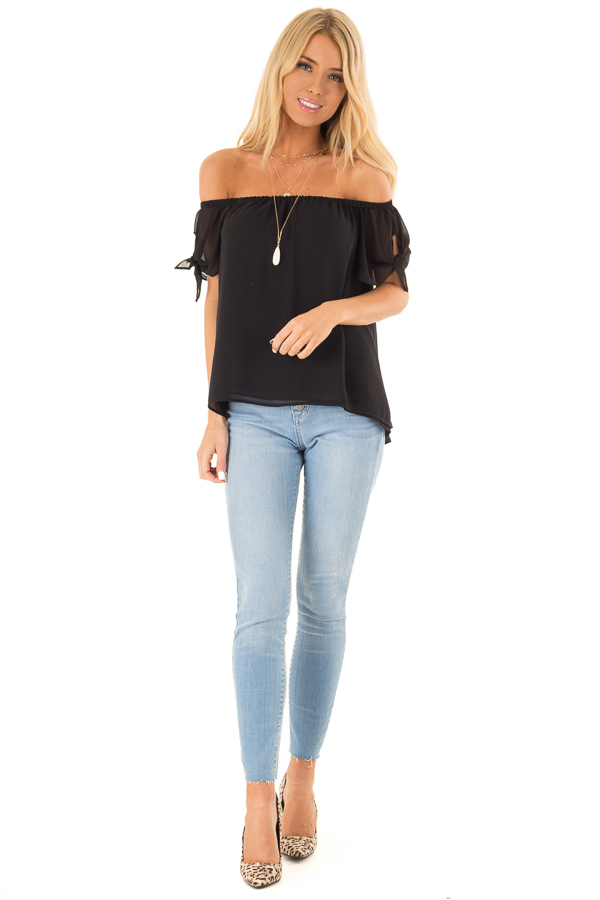 Ink Black Off the Shoulder Short Sleeve Top with Tie Detail front full body