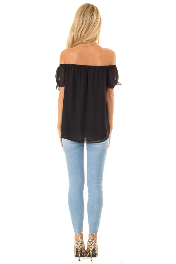 Ink Black Off the Shoulder Short Sleeve Top with Tie Detail back full body