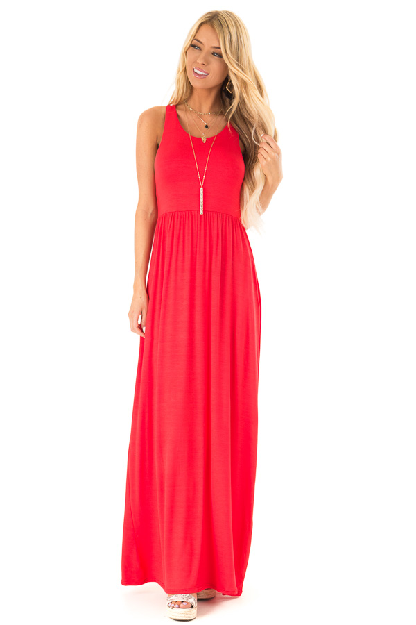 Scarlet Racerback Tank Maxi Dress with Pockets front full body