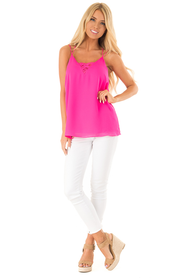 Hot Pink Tank Top with Lace Neckline and Strappy Details front full body