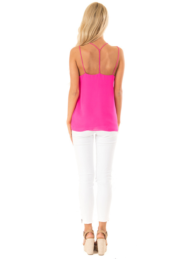 Hot Pink Tank Top with Lace Neckline and Strappy Details back full body