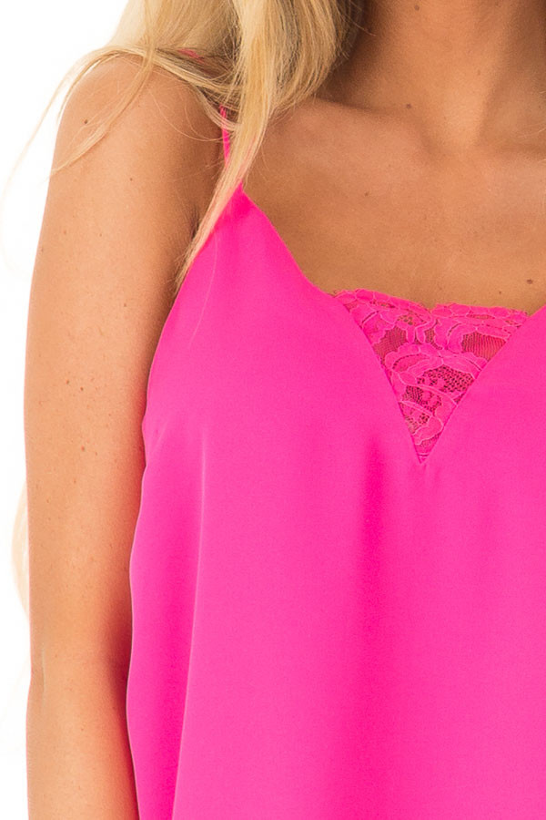 Hot Pink Tank Top with Lace Neckline and Strappy Details detail