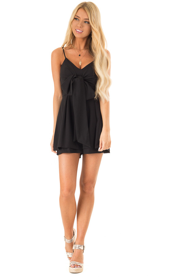 Ink Black Romper with Bow Tie Detail and Layered Hem front full body