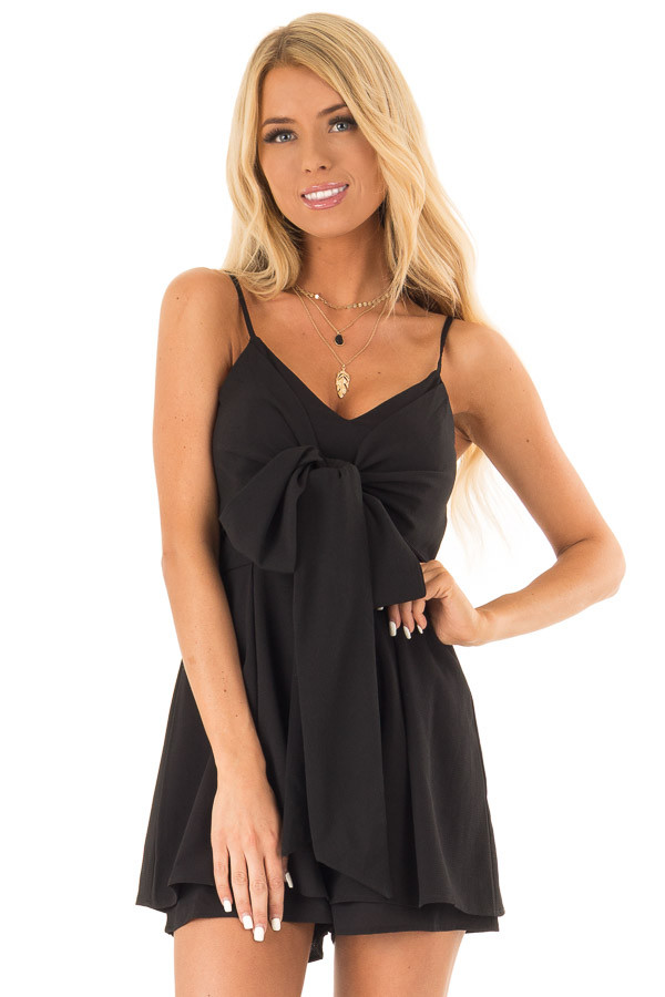Ink Black Romper with Bow Tie Detail and Layered Hem front close up