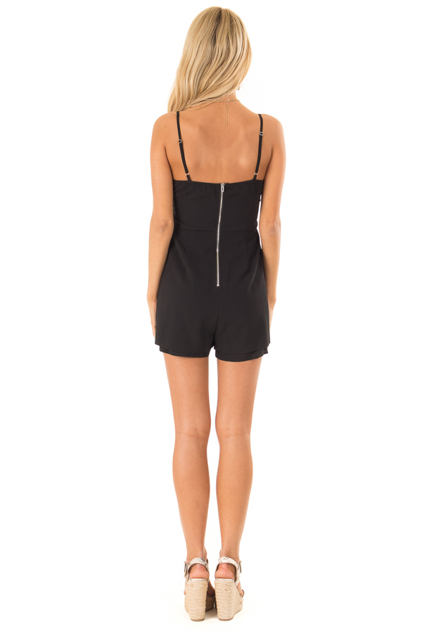 Ink Black Romper with Bow Tie Detail and Layered Hem back full body