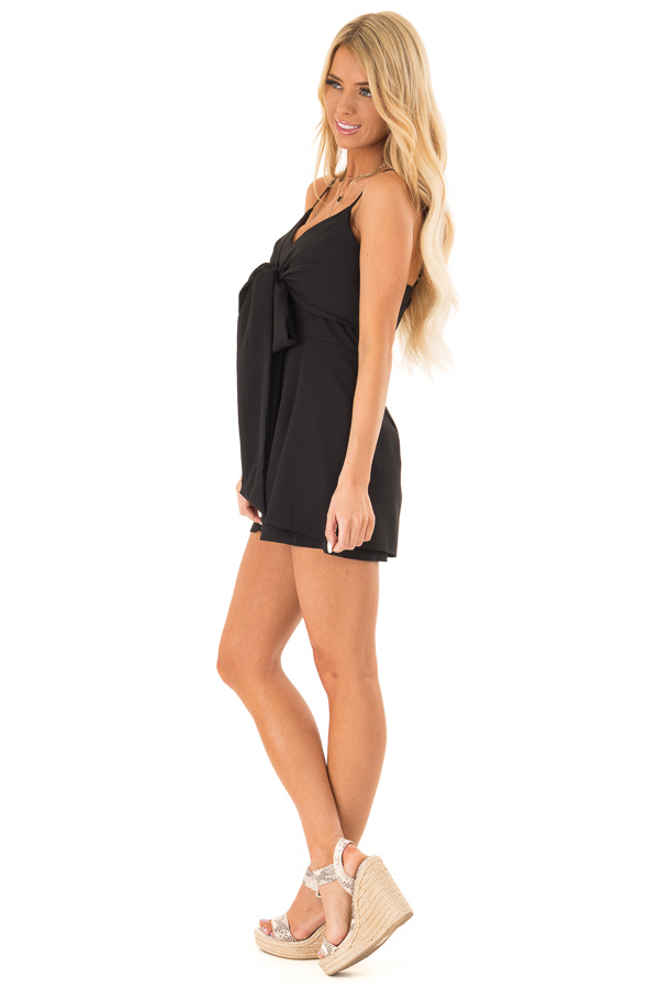 Ink Black Romper with Bow Tie Detail and Layered Hem side full body
