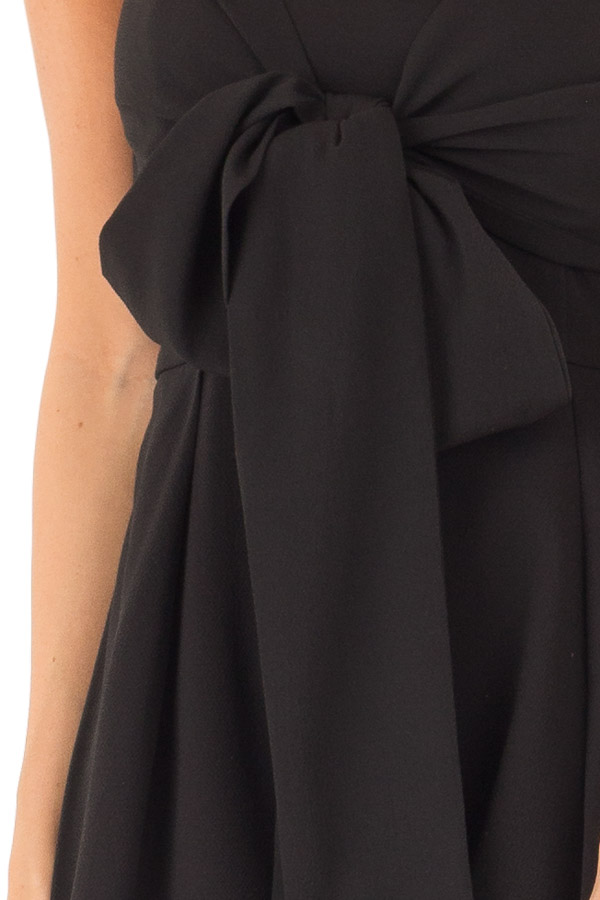 Ink Black Romper with Bow Tie Detail and Layered Hem detail