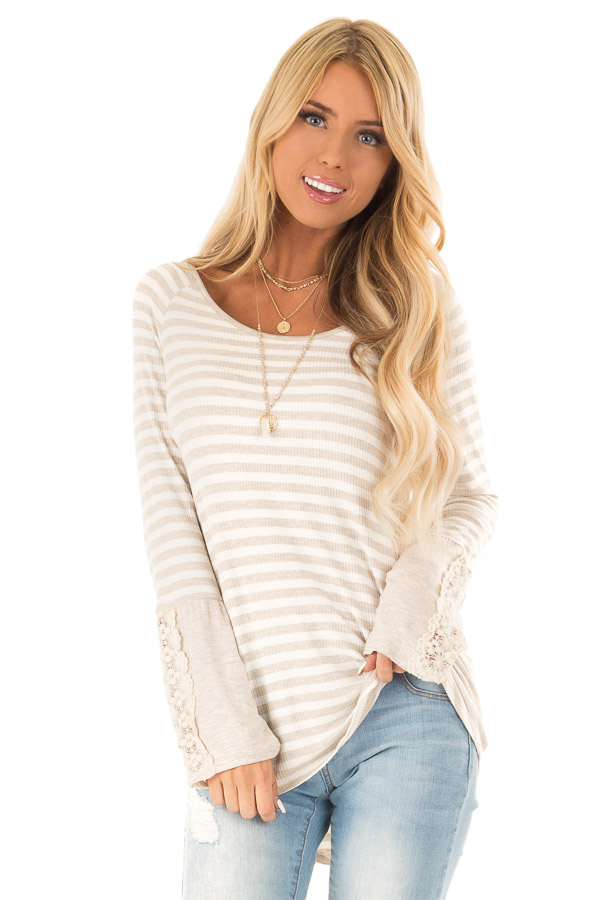 Oatmeal Striped Long Sleeve Ribbed Top With Crochet Details Lime