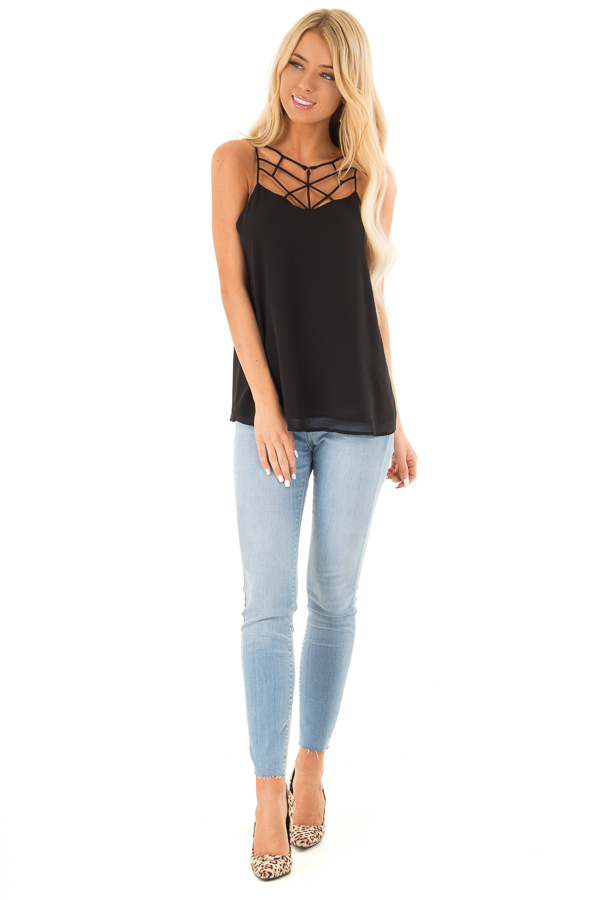 Black Spaghetti Strap Tank Top with Cage Neckline Detail front full body