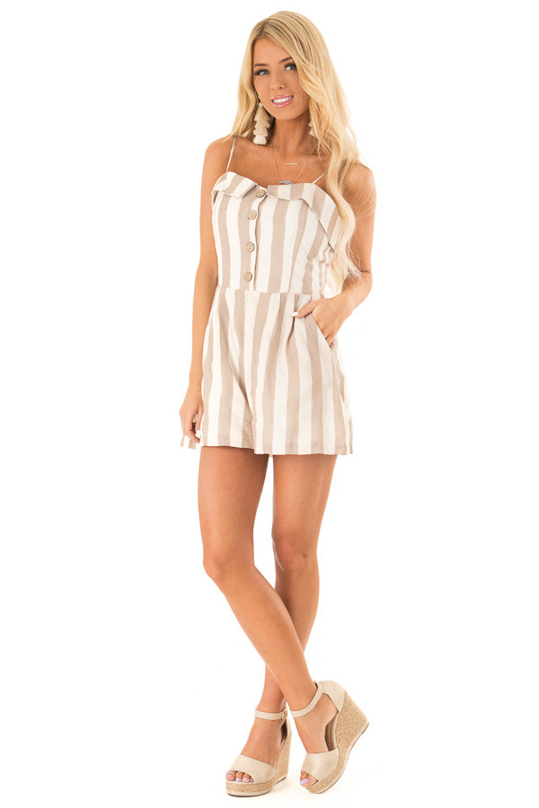 Taupe and Oatmeal Button Up Romper With Stripes front full body