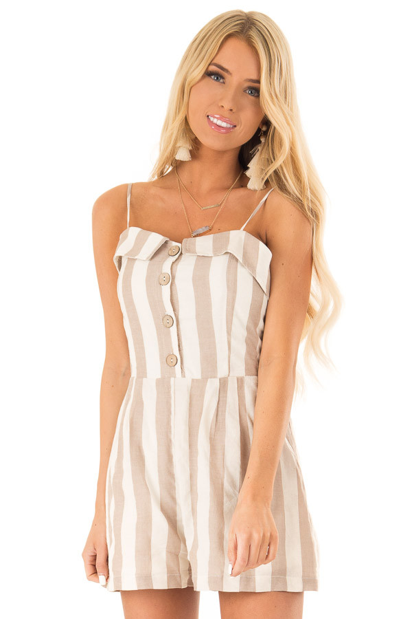 Taupe and Oatmeal Button Up Romper With Stripes front close up