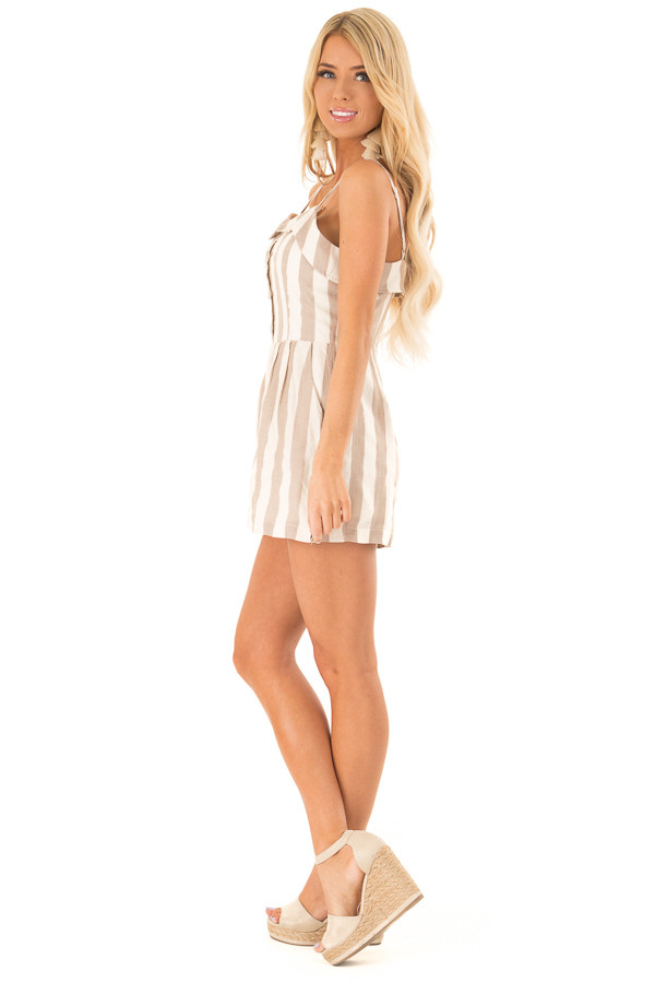 Taupe and Oatmeal Button Up Romper With Stripes side full body