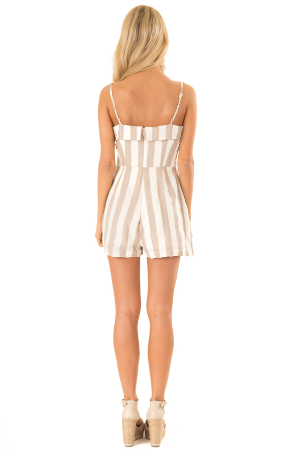 Taupe and Oatmeal Button Up Romper With Stripes back full body